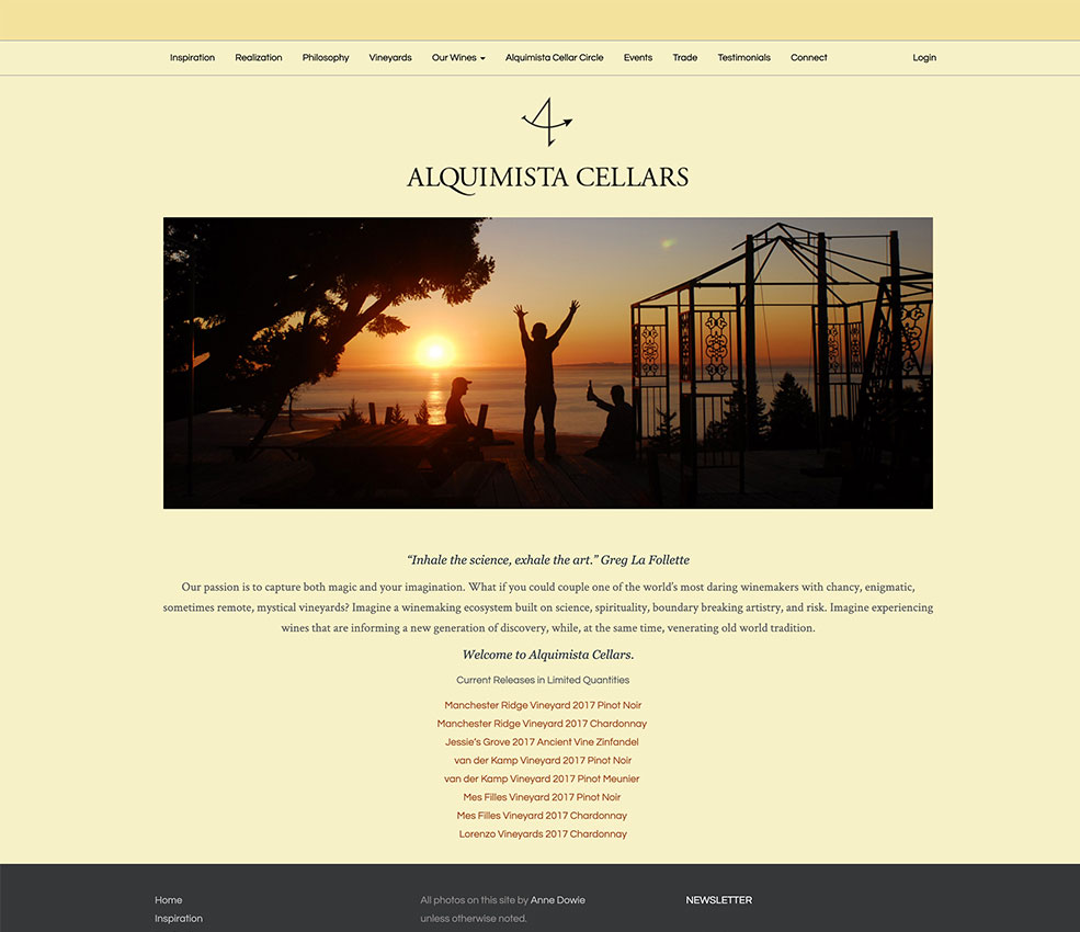 Alquimista Cellars website