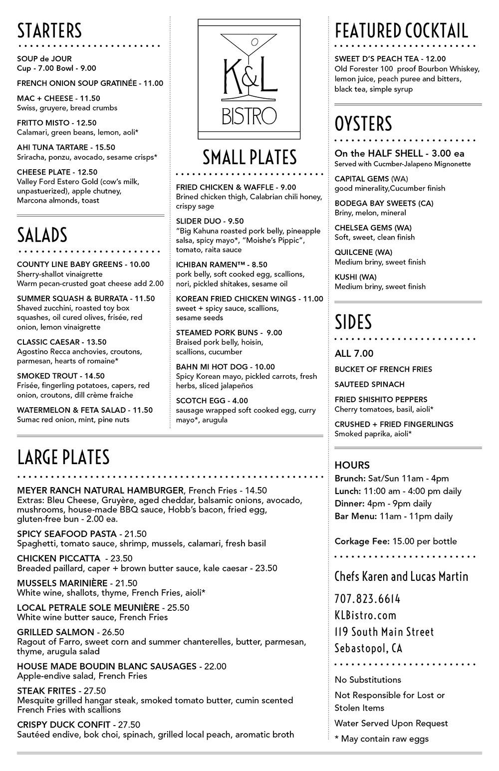 K&L Bistro menu